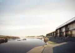 Image from May 2017: View of dock - phase 2 of the South Quay development in Hayle by Feilden Clegg Bradley Studios  Source:Forbes Massie